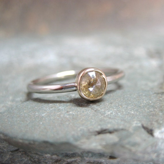 Rose Cut Diamond Solitaire and 10K White and Yellow Gold Ring -  Engagement Ring - Handmade and Designed by A Second Time