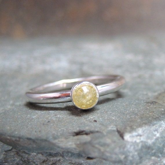 Yellow Rose Cut Diamond Solitaire and Sterling Silver Ring -  Artisan Jewellery - Handmade and Designed by A Second Time