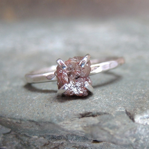 Uncut Rough Diamond Solitaire and 925 Sterling Silver Ring -  Artisan Jewellery - Handmade and Designed by A Second Time