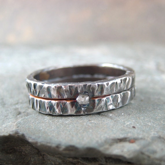 Raw Uncut Rough Diamond Wedding Band  - Silver Artisan Jewelry - Designed and Handmade by A Second Time