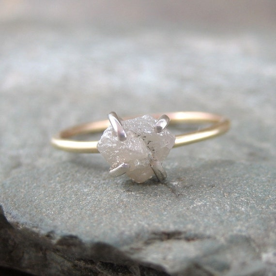 One Carat Rough Uncut Diamond Solitaire and 10K Yellow Gold Ring -  Artisan Jewellery - Handmade and Designed by A Second Time