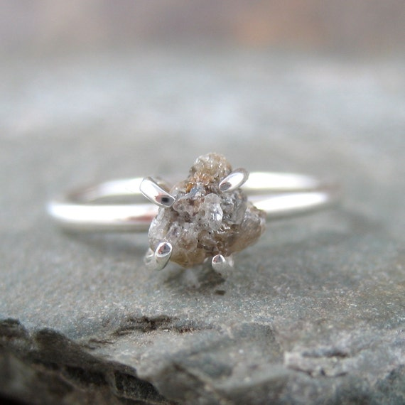 Diamond In The Rough Uncut Diamond Solitaire Engagement Ring - Sterling Silver Ring - Handmade and Designed by A Second Time