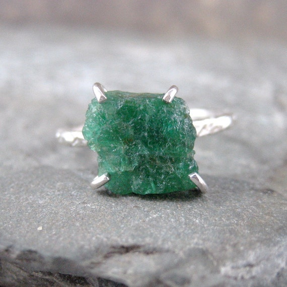 Uncut Raw Rough Green Emerald Ring - Sterling Silver Solitaire  -  Artisan Jewellery - Handmade and Designed by A Second Time