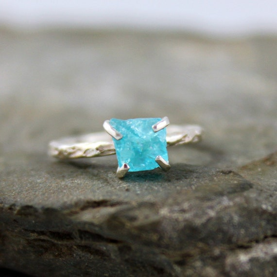 Apatite Sterling Silver Ring - Raw Uncut Rough Apatite - Handmade and Designed by A Second Time