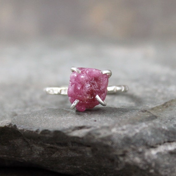 Ruby Ring -  Raw Uncut Red Ruby - Sterling Silver Solitaire  -  Artisan Jewellery - Handmade and Designed by A Second Time
