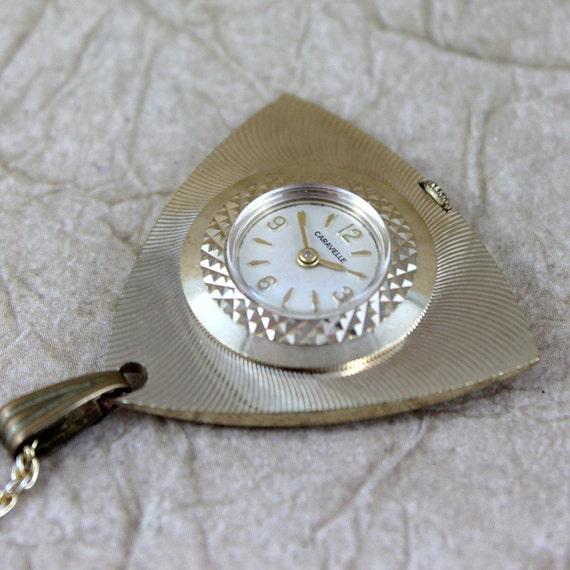 Retro 1970's Ladies Pendant Necklace Watch - Caravelle by Bulova - Mechanical Movement