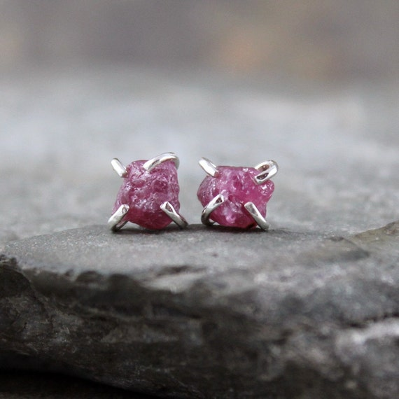 Uncut Raw Rough Red Ruby Earrings - Sterling Silver Stud Style - Rustic Round Shape - Handmade and Designed by A Second Time