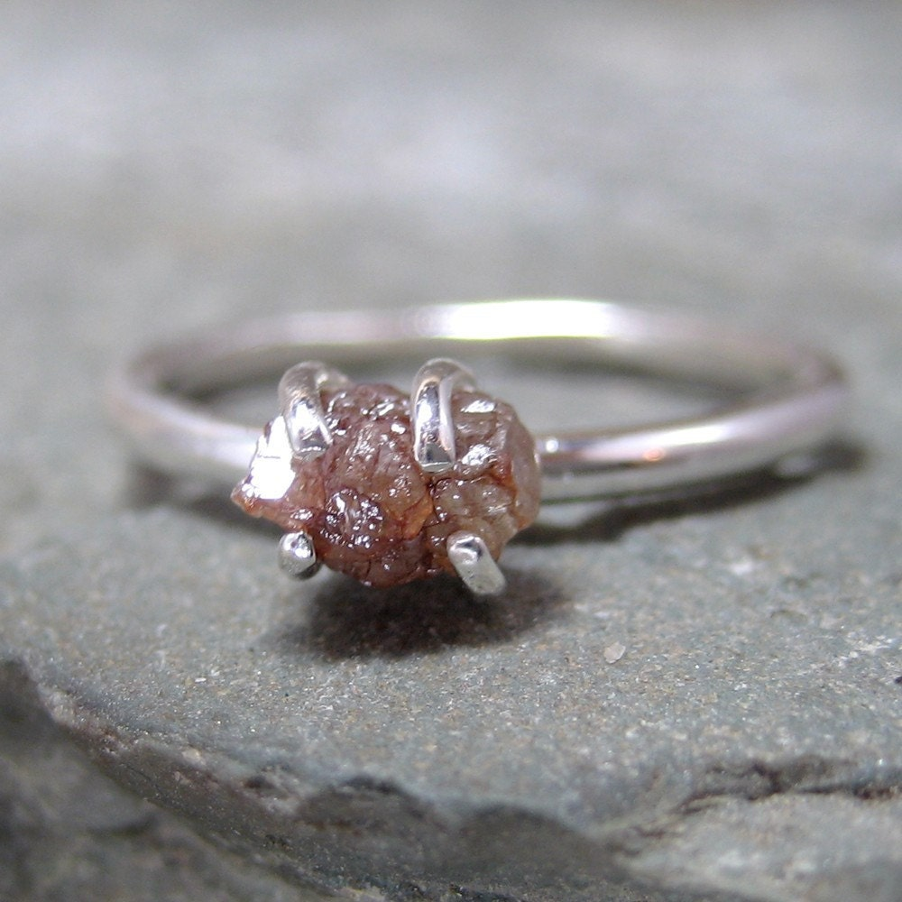 Rough Diamond Solitaire And Sterling Silver Ring Engagement