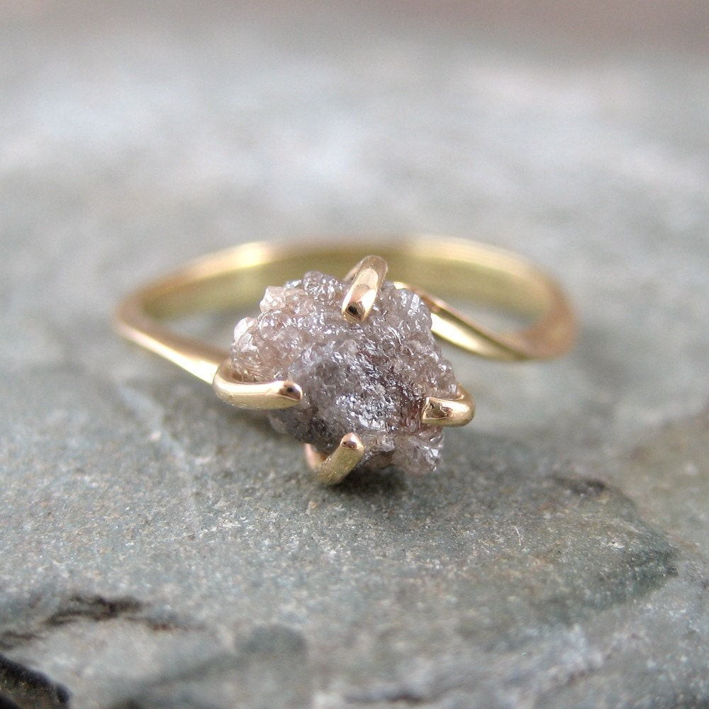 Raw Uncut Rough Diamond Engagement Ring 14K Yellow Gold