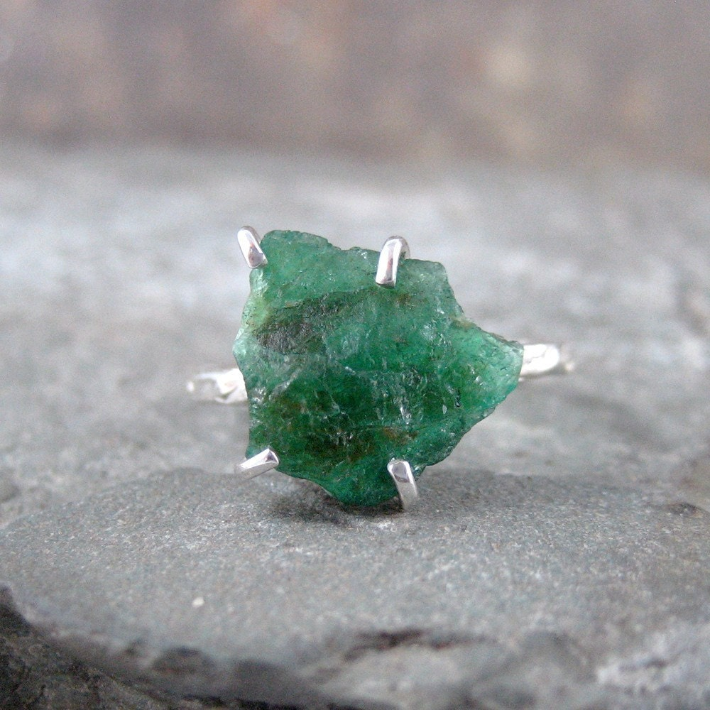 Uncut Raw Rough Green Emerald Ring Sterling Silver Solitaire