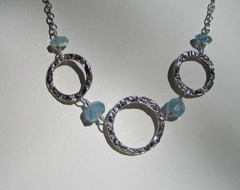 Silver Rings and Aquamarine Necklace