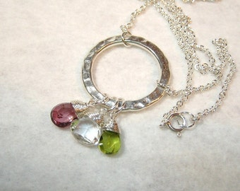 Pastel Drops and Sterling Silver Pendant