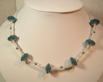 Blue Jade,Silver and Frosted Glass Necklace