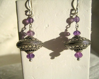 Amethyst and Bali Saucer Earrings