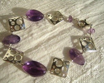 Amethyst and Sterling Silver Abstract Bracelet