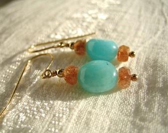 Amazonite and Sunstone Earrings