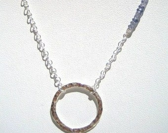 Sterling Hammered Ring Pendant Necklace