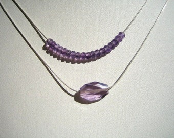 Amethyst and Silver Double Strand Necklace