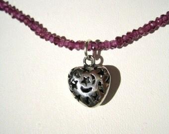 Sweet Heart Garnet Necklace