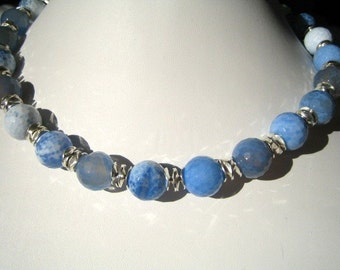 Blue Agate and Sterling Silver Necklace