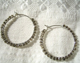 Mystic Quartz Beaded Hoop Earrings
