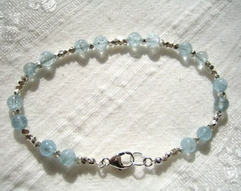Aquamarine and Hill Tribe Silver Bracelet