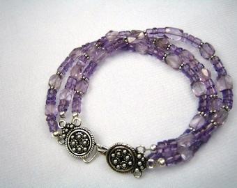 Amethyst and Bali Silver Triple Strand Bracelet