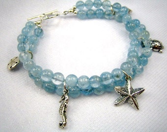 Aquamarine And Silver Sea Creatures Double Strand Bracelet