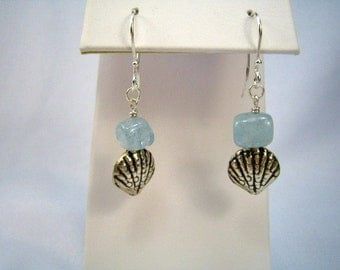Aquamarine and Seashell Earrings