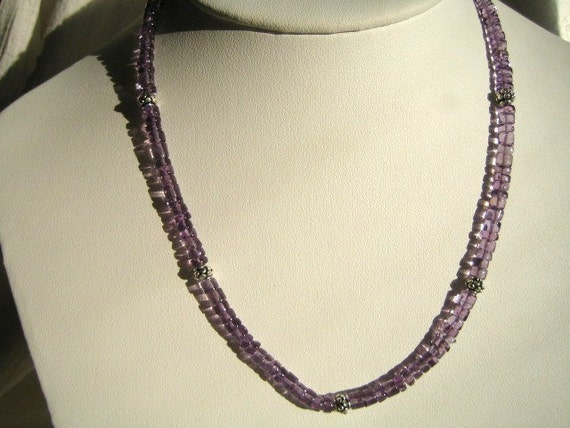 Amethyst and Bali Silver Necklace