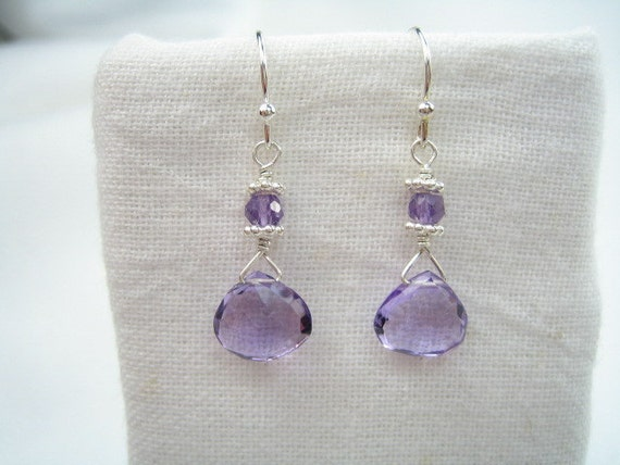 Beautiful Amethyst Briolette and Bali Silver Earrings
