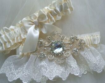 Wedding Garter - Bridal Garter -Ivory English Lace Garter Set Wedding Garter Set