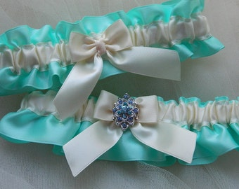 Wedding Garter Set, Bridal Garter, Aqua Blue And Ivory Satin With Blue Rhinestone Jewel