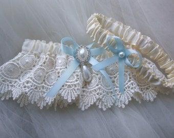 Wedding Garter - Ivory Venice Wedding Garter-Bridal Garter Set