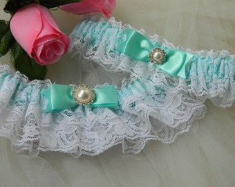 Wedding Garter,Bridal Garter Set,Aqua Blue And White Rachel Lace Garter