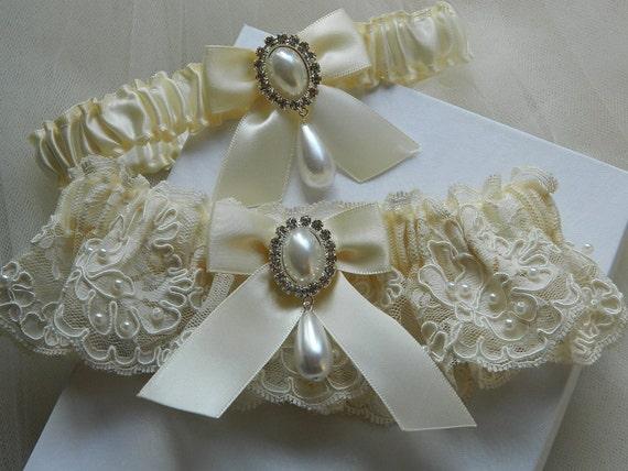 Ivory Alencon beaded  Bridal lace garter set