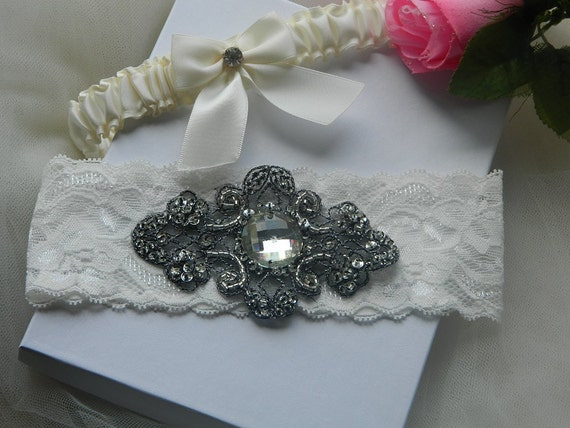 Ivory Bride Garter Set Couture Stretch Lace With Grey Rhinestone Applique.