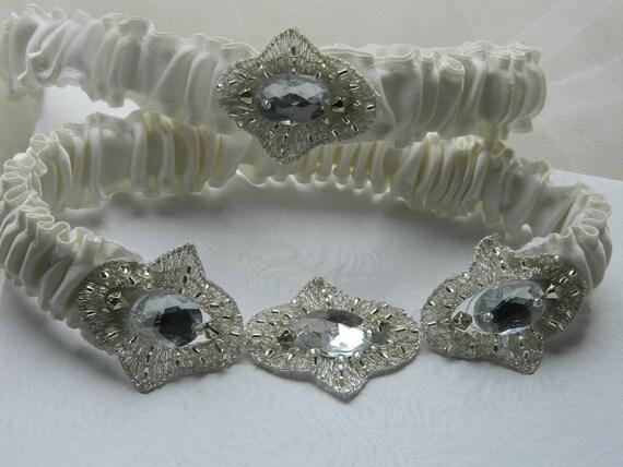 Garter Set Diamond White With Ciffon Beaded applique