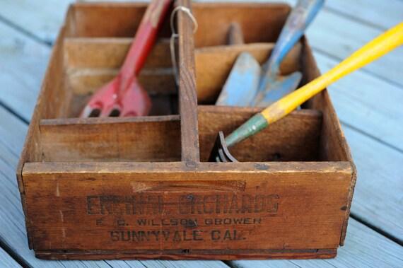 Vintage Wood Garden Tool Caddy Box