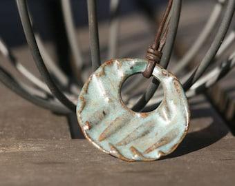 Herringbone stoneware pendant necklace