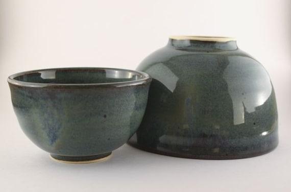 pair of blue bowls