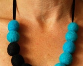 Turquoise and Black Felted Bead Necklace