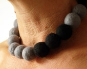 Grey and Black Felted Bead Necklace