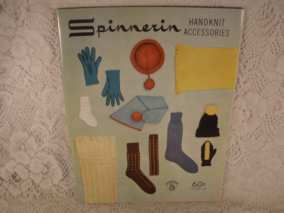 Spinnerin HANDKNIT ACCESSORIES, Volume 120 - Vintage Softcover Craft Book - Patterns, Knitting, Socks, Finesse, Stole