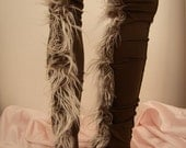 Brown Faux Fur Leg Warmers