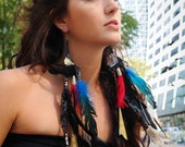 feather leather reversable earrings with chain and charms