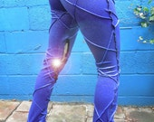 blueish, purplish sparkle pants with leather inserts