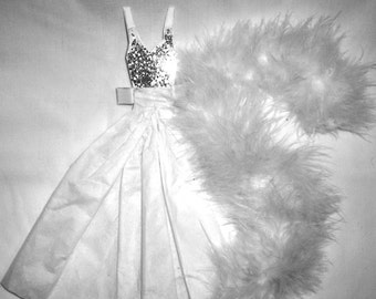 White Winter Ball Gown and Boa