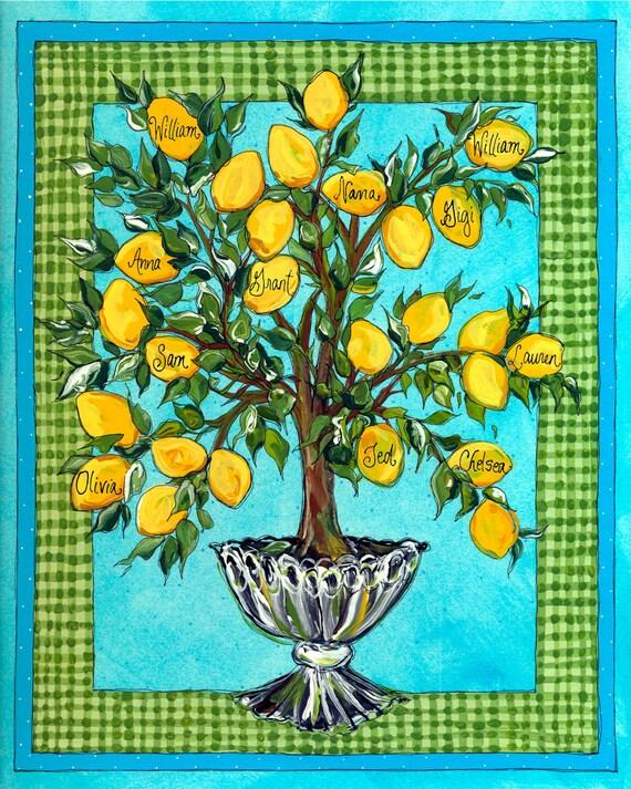 Personalized Lemon Tree - Frameable Art Print - Family Gift