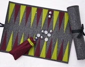 Handmade wool felt Backgammon (roll it up and take it everywhere)